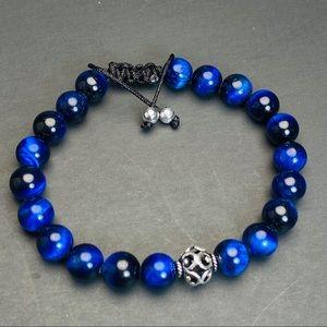 925 Blue Tiger Eye Sterling Silver Beaded Bracelet